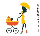 fashion mom with baby in pram... | Shutterstock .eps vector #323277101