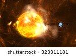 Giant Solar Flares. Sun...
