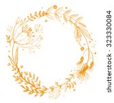 wreath flower drawn in colored... | Shutterstock . vector #323330084