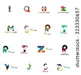 set of colorful abstract letter ... | Shutterstock .eps vector #323330657