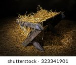 an old manger filled with straw.   Shutterstock . vector #323341901