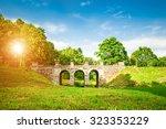 ancient bridge in summer park | Shutterstock . vector #323353229