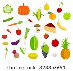 set of fruits and vegetables... | Shutterstock . vector #323353691