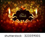 decor frame with an oil lamp on ... | Shutterstock .eps vector #323359001