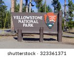 entrance sign to yellowstone...   Shutterstock . vector #323361371