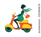 pregnant woman driving scooter. ... | Shutterstock .eps vector #323364674