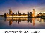big ben and westminster bridge...   Shutterstock . vector #323366084