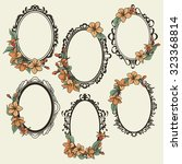 set of vintage oval frames... | Shutterstock .eps vector #323368814