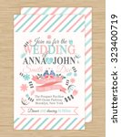 cute wedding invitation card... | Shutterstock .eps vector #323400719