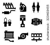 vector car parts set icons  | Shutterstock .eps vector #323403455
