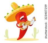 red chilli pepper in a sombrero ... | Shutterstock .eps vector #323407259
