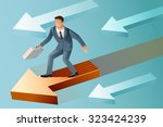 leader standing on a moving... | Shutterstock .eps vector #323424239