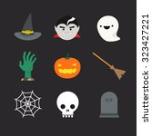 flat halloween icons. witch hat ... | Shutterstock . vector #323427221