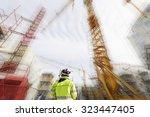 surveyor and instrument  giant... | Shutterstock . vector #323447405