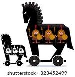 Cartoon Trojan Horse With Gree...