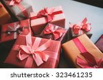 stylishly packaged boxes with... | Shutterstock . vector #323461235