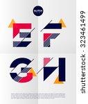 typographic alphabet in a set.... | Shutterstock .eps vector #323461499