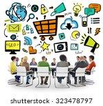 diversity casual people online... | Shutterstock . vector #323478797