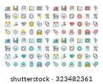 flat line colorful icons... | Shutterstock .eps vector #323482361