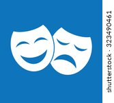 theater icon with happy and sad ... | Shutterstock .eps vector #323490461