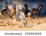 Stock photo horse herd run in desert sand storm against dramatic sky 323504294