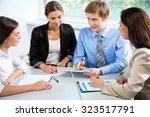 group of happy businesspeople... | Shutterstock . vector #323517791