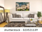 Interior With White Sofa. 3d...