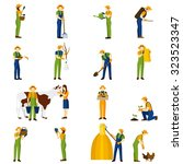 farmer at work flat icons... | Shutterstock .eps vector #323523347