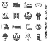 sleep time black icons set with ... | Shutterstock .eps vector #323523509