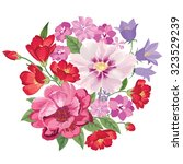 flower bouquet. floral frame.... | Shutterstock .eps vector #323529239