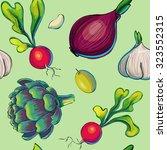 seamless vegetables pattern... | Shutterstock .eps vector #323552315