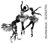 ballerina in dance. watercolor...   Shutterstock .eps vector #323565701