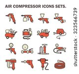 air compressor icons sets. | Shutterstock .eps vector #323566739