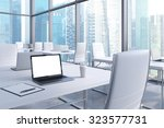 workplaces in a modern corner... | Shutterstock . vector #323577731