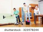 ordinary family doing house... | Shutterstock . vector #323578244