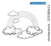 doodle clouds and rainbow  hand ... | Shutterstock .eps vector #323580611