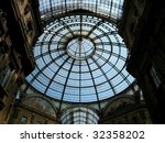Looking up in the gallery Vittorio Emanuele II in Milan, Italy - stock photo