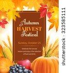 autumn harvest festival poster...   Shutterstock .eps vector #323585111
