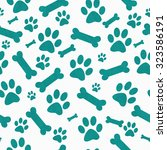 teal and white dog paw prints... | Shutterstock . vector #323586191