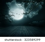 halloween background  wooden... | Shutterstock . vector #323589299