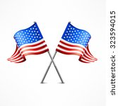 two crossed american flag... | Shutterstock .eps vector #323594015