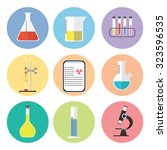 chemical icons. flat design.... | Shutterstock .eps vector #323596535