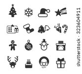 christmas icons set vector | Shutterstock .eps vector #323604911