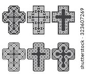 set of six crosses in style of... | Shutterstock .eps vector #323607269