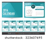 desk calendar 2016 vector... | Shutterstock .eps vector #323607695