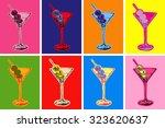 set of colored martini...