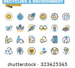 flat line icons set of... | Shutterstock .eps vector #323625365