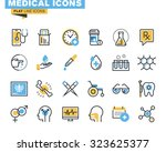 flat line icons set of medical... | Shutterstock .eps vector #323625377