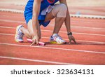 man is ready to run track . | Shutterstock . vector #323634131