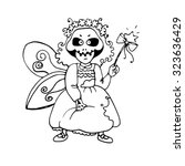 witch. halloween. coloring book.... | Shutterstock .eps vector #323636429